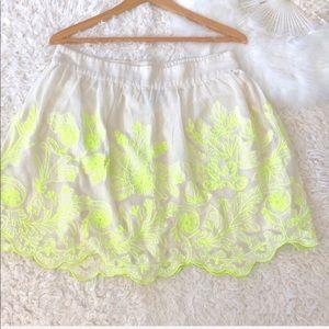 Anthropologie Cream Neon Embroidery mini s…